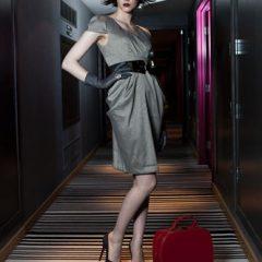 fashion stylist grey dress