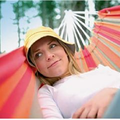 Lifestyle Stylist Girl on Striped Hammock