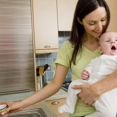 Lifestyle Stylist Mother and Baby in Kitchen