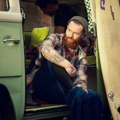 Lifestyle Stylist Tattooed Surfer Guy with Van